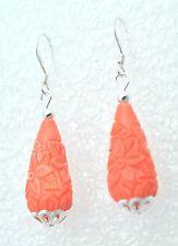 Koralle Pampel  floral geschnitzte  Ohrringe 925 Silber  STERLINGSILBER