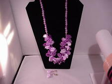 Vintage Plastic Purple Leaf Beaded Necklace and Earrings 1970's