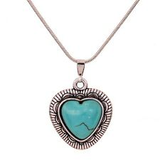 Tibetan Silver Turquoise Flower love Heart  Pendant Long Chain Necklace Jewelry