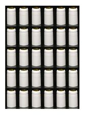 SHRINK CAPSULES 33 WHITE w/GOLD TOP PVC HEAT SHRINKS FOR WINE MAKING BOTTLES