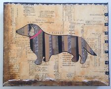 "Original Mixed Media 8"" X 10"" 1.5"" Canvas Dachshund Dog Loyal Collage Wall Art"