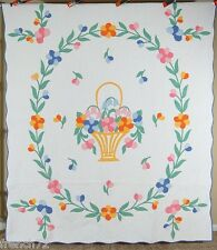 Large, WELL QUILTED Vintage Basket Deco Floral Bouquet Applique Antique Quilt!