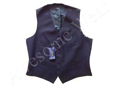 New Ralph Lauren Polo 100% Wool Navy Blue Pinstriped Vest SLIM  38 R