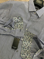"""Paul Smith Rayures Bleues Chemise 17"""" Slim Fit Manchette Simple Made in Italy"""