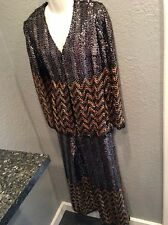 Vintage Women's Silver/Gold Sequin Jacket & Pants Suit Chevron Design MINT 13