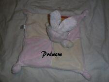 doudou lapin rose neuf personnalisé par un prénom gratuit (broderie)
