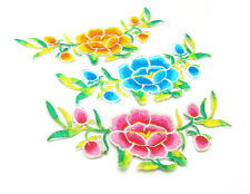 3X  Embroidered Cloth Iron On Patch Sew Motif Oriental Charm Flowers 3 Colors