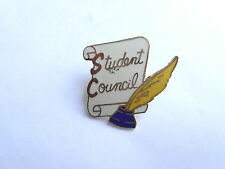 Vintage Student Council High School Scroll Ink Well Quill Pen Enamel Pin Pinback