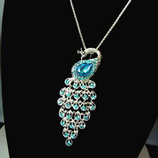 Women Rose Gold Plated Ocean Blue Crystal Peacock Pendant Sweater Chain Necklace
