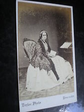 Cdv old photograph woman shawl by taylor at Doncaster c1860s Ref 512(7)