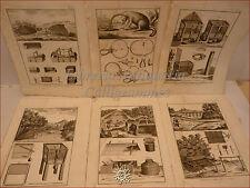 CACCIA DIDEROT/Panckoucke 1780 Set di 6 tavole incise Arte venatoria TRAPPOLE