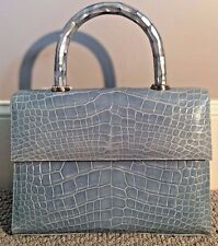 NWOT Glazed  Blue Crocodile Kelly  bag by Darby Scott  ONE DAY SALE!!