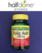 Spring Valley Folic Acid 250 Tablets 400 mcg Health Supplement Energy Metabolism