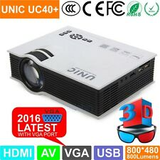 New Original UNIC UC40+ Mini HD 3D LED Projector 800LM VGA Home Cinema Theater