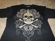 Mexico Skull Mens Mexican Day of the Dead Fifth Sun Black T-Shirt  Size 2XL