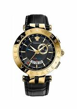 Versace V Race Black And Gold GMT Alarm Watch *New