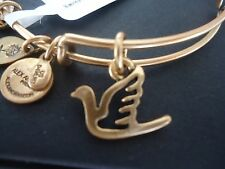 Alex and Ani SACRED DOVE Russian Gold Finish Charm Bangle New W/ Tag Card & Box