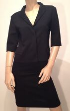JIL SANDER Black 3/4 Sleeve Cropped Jacket & A Line Skirt Suit UK 10 FR 38