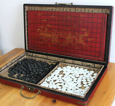 Chinese Go Game Set Leather Box Goban Board and Stone