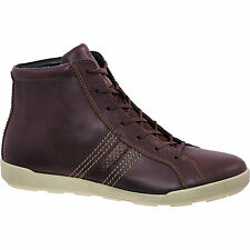 £120 ECCO Brown Smooth Material Hi-Top Sneakers 100% genuine size UK6/eu 39