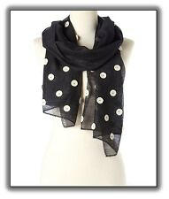 FREE SHIP! Black with Ivory Circles Silk Wool Handmade Scarf (HES-180)