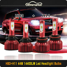 H11 9005 4PCS LED Total 144W 14400LM Combo Headlight High Low 6000K White Kit