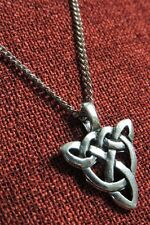 Celtic Endless Knot Triquetra Irish Iona Medieval Silver Pewter Pendant Necklace