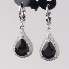 18k white gold filled Beauteous black sapphire Antique jewlery dangle earring