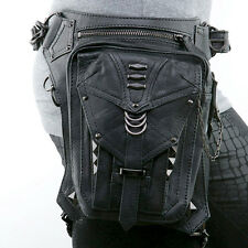Unisex Men Leather Waist Fanny Leg Bag Motorcycle Rider Punk Rock Messenger Pack