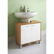 Under Sink Basin Storage Unit in White and Oak Wood Bathroom Furniture Cabinet