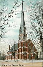 1907-1915 Vintage Postcard; Flint MI Catholic Church, Genesee County Posted