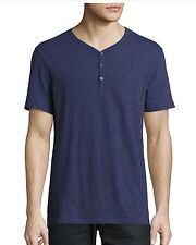 VME055 NWT VINCE SLUB COTTON HENLEY MEN TEE SHIRT SIZE S in BLUE JAY $85