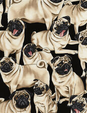 Timeless Treasures Fabric PUG Dog Fabric- 35""