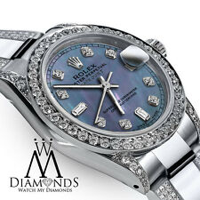 Women's 31mm Rolex Oyster Perpetual Datejust Custom Blue Diamond Stainless
