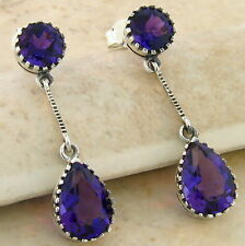 5 CT AMETHYST LAB VICTORIAN ANTIQUE DESIGN 925 STERLING SILVER EARRINGS,  #655