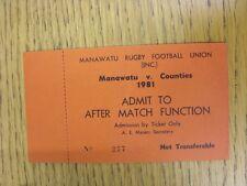 1981 ticket rugby union-Manawatu v comtés [après match fonction] (complet)