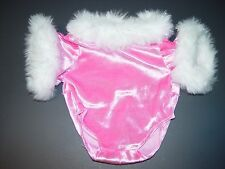 Build a Bear Clothes Clothing Outfit Pink White Fur Ice Skating Leotard