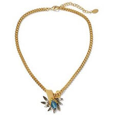 ELIZABETH COLE LOU GLASS STONES SWAROVSKI CRYSTALS GOLD PLATED BRASS NECKLACE