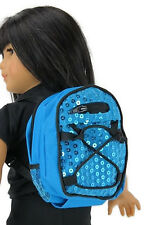 "Blue Backpack with Sequins made for 18"" American Girl Doll Clothes Accessories"