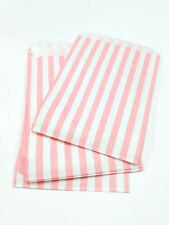 """100 Traditional Sweet Shop 5"""" x 7"""" Candy Striped Paper Bags - Choose Your Color"""