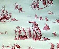 "RARE Brunschwig & Fils Pink ""BUNNY BUSINESS"" Bunny Toile Chintz Wallpaper LOT"