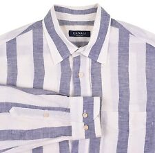 Canali Made in ITALY Blue White Stripe 100% LINEN Casual Shirt M