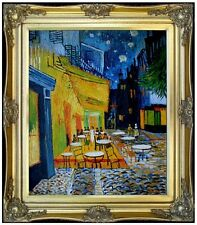Framed Van Gogh Cafe Terrace at Night Repro, Hand Painted Oil Painting 20x24in