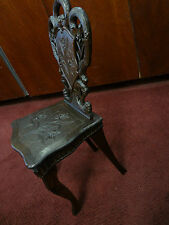 c.1900 Antique Black Forest - Carved Child's Music Chair