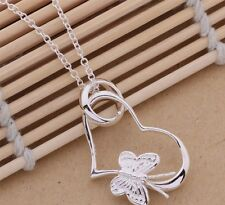 Womens 925 Sterling Silver Plated Butterfly & Heart Necklace & Pendant.18 inches