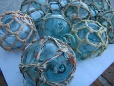 """(5) x 3"""" Japanese Glass Fishing Floats ~ With Netting ~ Authentic Old Vintage"""