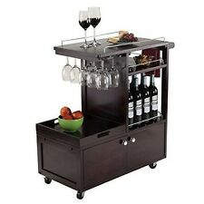 Wine Serving Cart Cabinet Bar Rolling Kitchen Glass Holder TeaWood Trolley Tray
