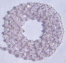 5 Feet Rose Quartz Chalcedony 925 Silver Plated 3.5mm Faceted Beads Rosary Chain