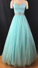 Formal Gown Tiffany Designs Blue Dress Quinceanera Size 4 Strapless Prom Dances