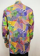 Mens Vtg 70s Style Crazy Print Prince Funky Fancy Dress Pop Art Shirt Festival